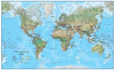 World Physical 1:30 Wall Map, Laminated Educational Poster