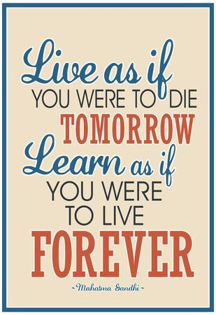 Live As If Learn As If Art Gandhi Quote Poster Prints At Allposterscom