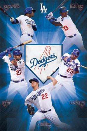 Los Angeles Dodgers Team Baseball Poster