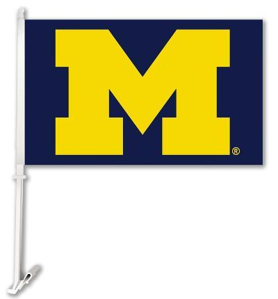 NCAA Michigan Wolverines Car Flag With Wall Brackett