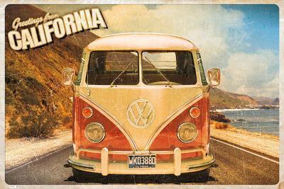 Greetings From California Volkswagen Camper Poster