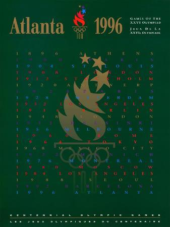 Atlanta 1996 Olympics 100 Year Flames with Stars Official Sports Poster Print