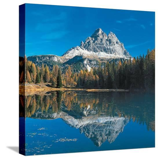 Antorno Lake Tre Cime Italy Stretched Canvas Print At