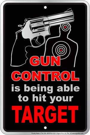 Gun Contro Embossed Tin Sign
