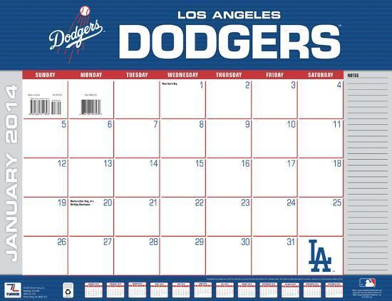 Dodgers Calendar.Los Angeles Dodgers 2014 Desk Calendar
