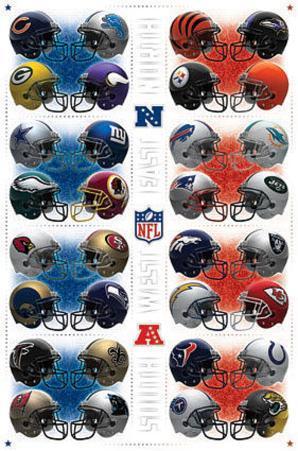 NFL Team Helmets Sports Poster