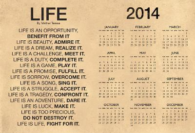 Mother Teresa Life Quote Motivational 2014 Calendar Poster