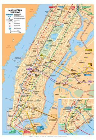 Michelin Official Manhattan Subways Map Art Print Poster