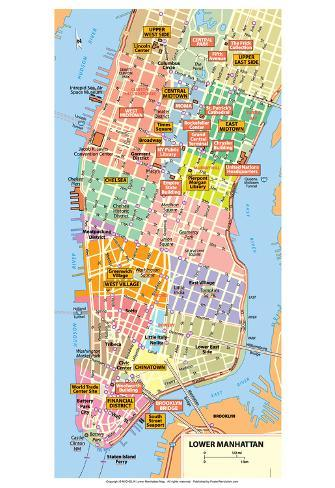 photograph regarding Printable Map of Manhattan called Michelin Formal Decrease Manhattan NYC Map Artwork Print Poster