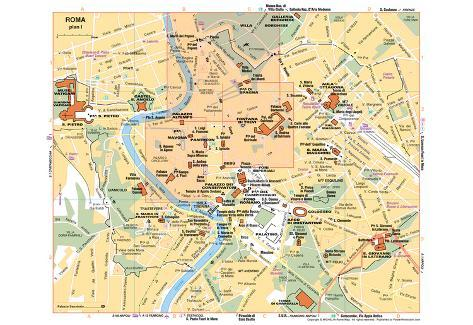 graphic about Printable Maps of Rome titled Michelin Formal Rome Italy Map Artwork Print Poster