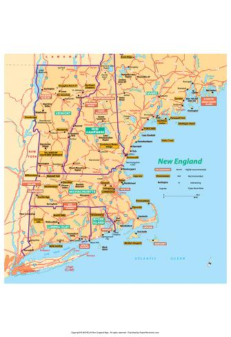 photo relating to Printable Map of New England titled Michelin Formal Refreshing England Map Artwork Print Poster