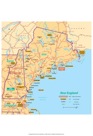 Michelin Official Northern New England Map Art Print Poster