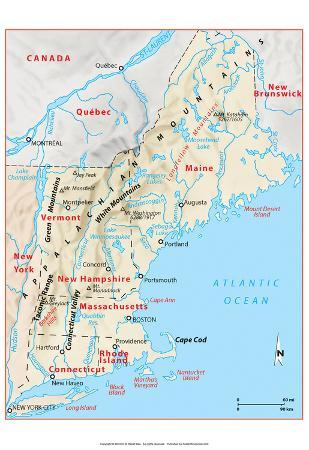 Michelin Official Northern New England Relief Map Art Print Poster
