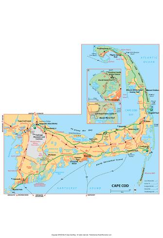 photo about Printable Map of Cape Cod known as Michelin Formal Cape Cod Map Artwork Print Poster