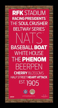 Washington Nationals Subway Sign Wall Art Framed w/ Authentic Dirt from Nationals Park