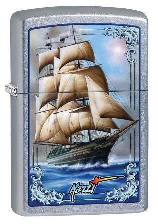 Mazzi Tall Ship Street Chrome Zippo Lighter