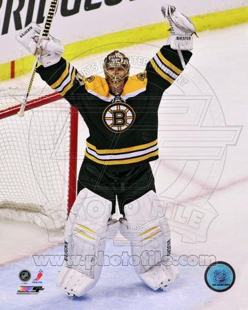 Tuukka Rask celebrates winning the 2013 Eastern Conference Finals