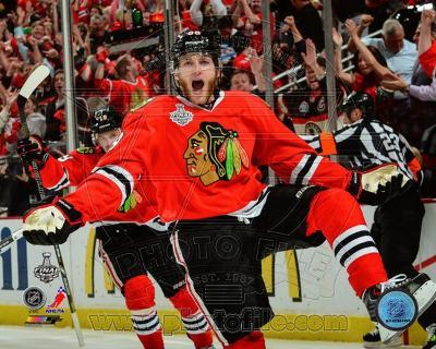 Patrick Kane celebrates his first goal Game 5 of the 2013 Stanley Cup Finals