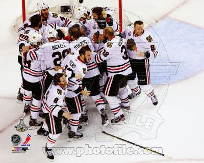 The Chicago Blackhawks celebrate winning Game 6 of the 2013 Stanley Cup Finals