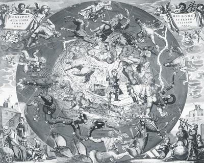 Hemisphae Alis Coeli Sphaeri Grarii Bore et Terre Casceno Phia, 1660