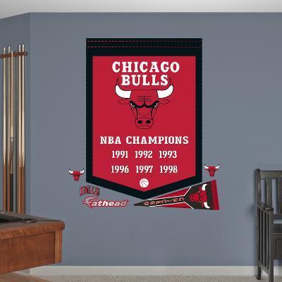 NBA Chicago Bulls Championships Banner Wall Decal Sticker