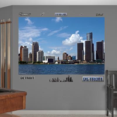 Detroit Skyline Mural Decal Sticker