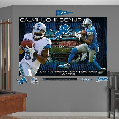 NFL Detroit Lions Calvin Johnson Jr. - 2012 Receiving Yards Record Mural Decal Sticker