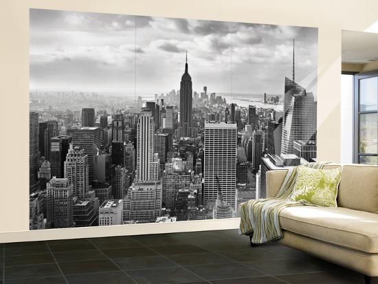 Manhattan New York Skyline Black And White Wallpaper Mural