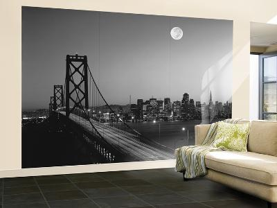 San Francisco Bay Bridge Black and White Wall Mural