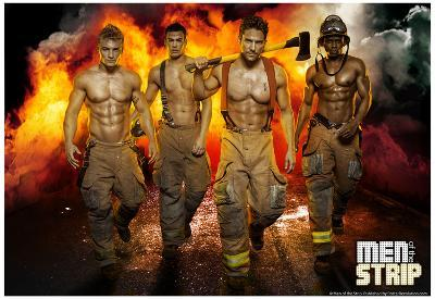 Men of the Strip Fire Pin-up Poster