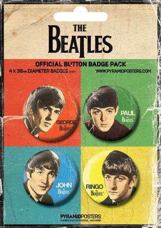 The Beatles - George, Paul, John & Ringo Badge Pack