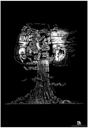 Mushroom Cloud E=MC2 Text Poster