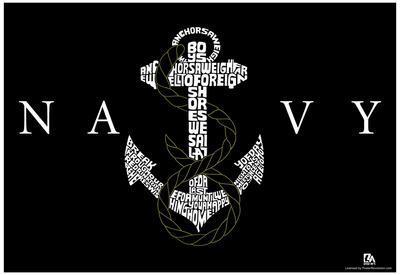 Navy Logo Anchors Aweigh Lyrics Poster