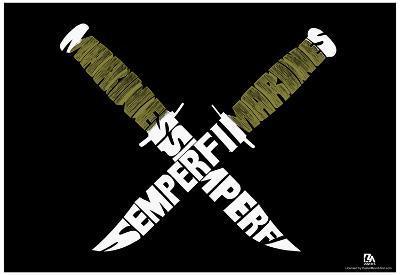 Marines Knives Sempi Fi Text Poster