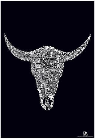 Cow Skull Country Music Songs Text Poster
