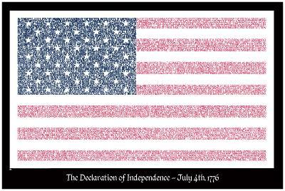 American Flag Declaration of Independence Text Poster