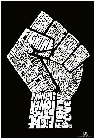 Fight the Power Fist Text Poster