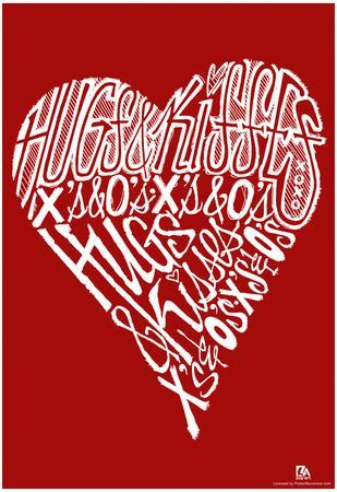 Hugs and Kisses Heart Text Poster