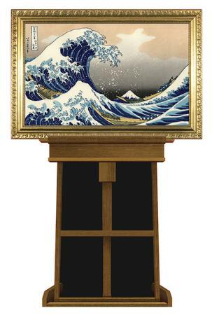 Great Wave by Hokusai on Museum Easel Fine Art Lifesize Standup