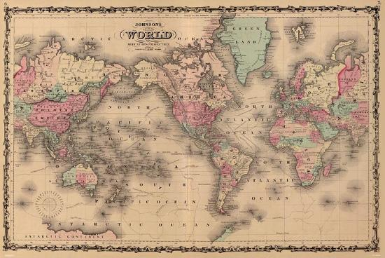 Old World Map Poster Old World Map Colorful Art Print Poster' Posters | AllPosters.com