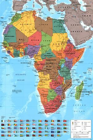 Africa Map Reference Poster