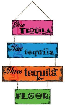 Three Tequila Floor Sign Tin Sign