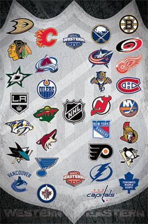 NHL Team Logos Hockey Sports Poster