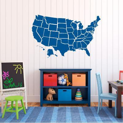 Traffic Blue US Map Wall Decal