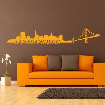 San Francisco Skyline Yellow Wall Decal