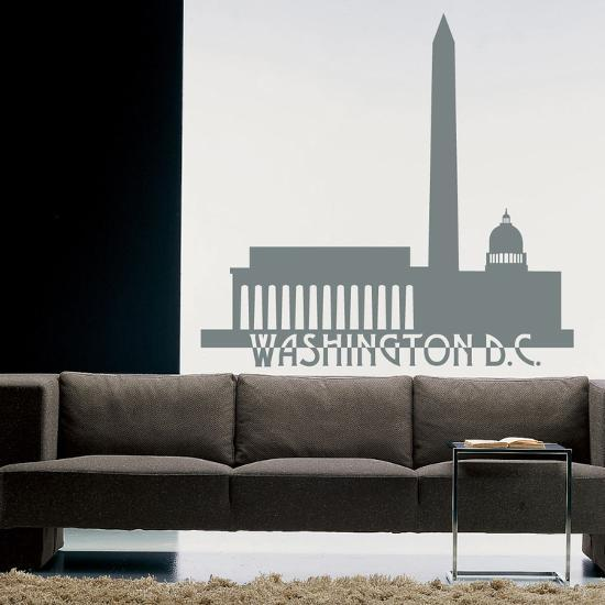Washington Dc Skyline Grey Wall Decal