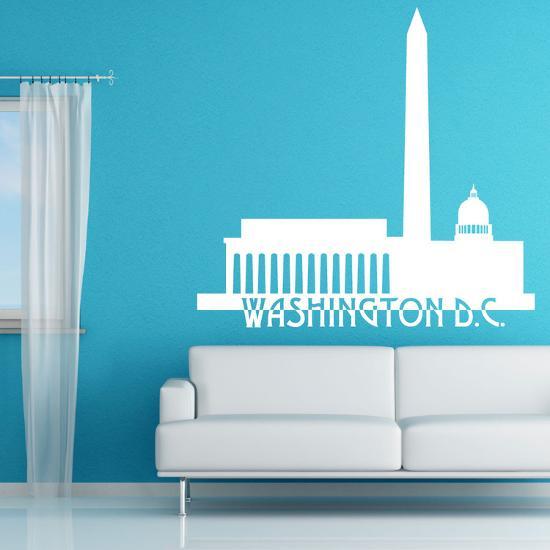 Washington Dc Skyline White Wall Decal