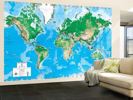 Executive World Map (Write On) Dry Erase Giant Laminated