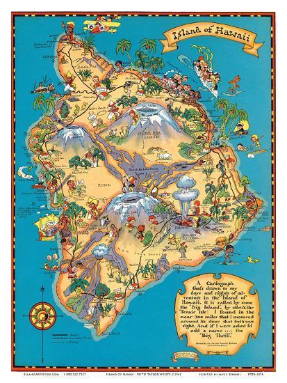 Hawaiian Island Of Hawaii Big Island Map Hawaii Tourist Bureau