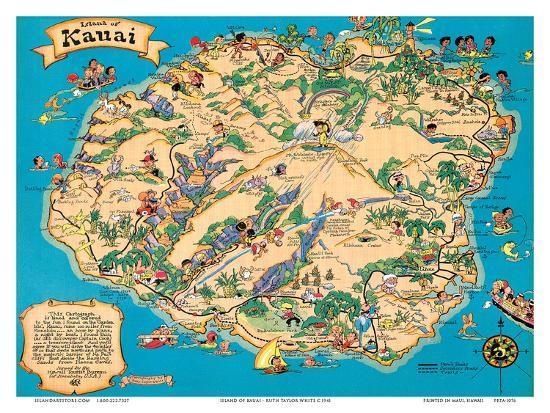Hawaiian Island of Kauai Map - Hawaii Tourist Bureau Print